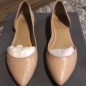 Croc embossed leather flat